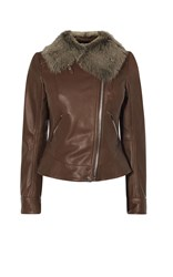 Karen Millen Sheepskin And Leather Aviator Jacket Brown