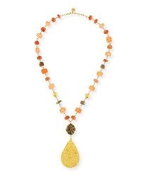 Devon Leigh Mixed Beaded Teardrop Pendant Necklace Gold