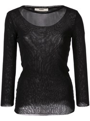 Fuzzi Sheer Layered Top Black