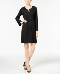 Ny Collection Faux Suede Lace Up Fit And Flare Dress Black