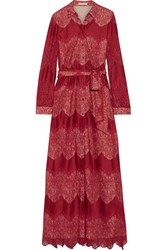 Alice Olivia Sina Paneled Guipure Lace And Voile Maxi Dress Burgundy