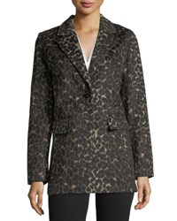 T Tahari Kendall Leopard Print Single Breasted Coat Black Pattern