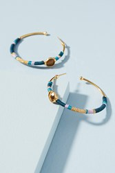Anthropologie Denim Acreole Hoop Earrings Blue