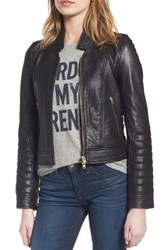 J.Crew Women's Collection Stand Collar Leather Jacket Black