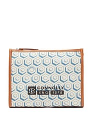 Connolly Leather Trimmed Printed Canvas Pouch Blue Multi