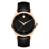 Movado 0607062 'S 1881 Automatic Date Leather Strap Watch Black