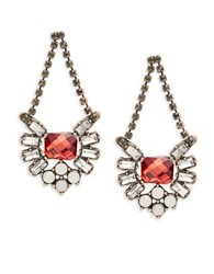 Design Lab Lord And Taylor Floral Cluster Drop Earrings Red