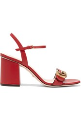Gucci Embellished Leather Sandals Red