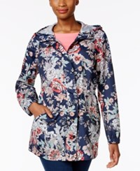 Charter Club Petite Floral Print Packable Hooded Utility Raincoat Only At Macy's