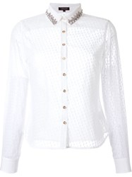 Loveless Semi Sheer Textured Bedazzled Collar Button Down Shirt White