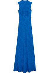 Saloni Fleur Ruched Fil Coupe Silk Gown Blue