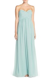 Women's Donna Morgan 'Laura' Strapless Ruched Chiffon Gown Bella Blue