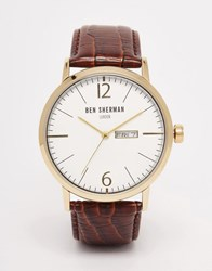 Ben Sherman Portobello Leather Watch In Brown Brown