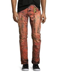Robin's Jeans Vertical Zip Painted Moto Red