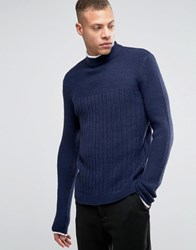 Asos Jumper With Turtle Neck Navy