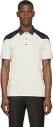 Cnc Costume National Beige And Black Mesh Paneled Polo