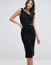 Oh My Love One Shoulder Midi Dress With Frill Detail Black