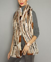 The Fur Vault Knitted Mink Stole Multi Brown