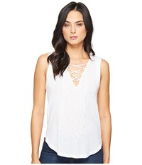 Splendid Slub Tees Lace Up Tank White Women's Sleeveless