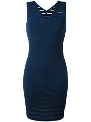 Twin Set Ribbed Detail Fitted Dress Blue