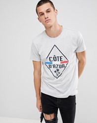 Solid T Shirt In Cote D'azur Print Grey 8242