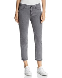 Parker Smith Crop Released Hem Straight Jeans In Chrome