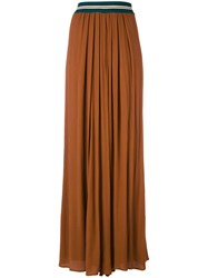 Roberto Collina Flare Pleated Trousers Women Cotton Polyester Viscose Xs Brown