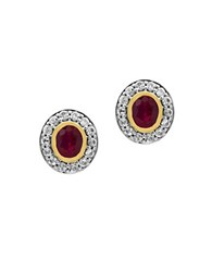 Effy White Sapphire Ruby 18K Yellow Gold And 0.925 Sterling Silver Stud Earrings