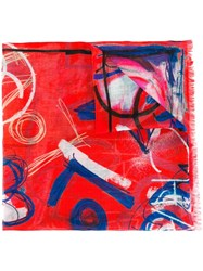 Chanel Vintage Illustrative Print Scarf Red