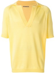 Nuur V Neck Polo Shirt Yellow And Orange