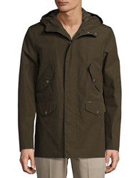 Ben Sherman Hooded Zip Front Jacket Forest Green