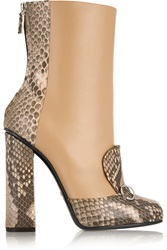 Gucci Horsebit Detailed Python And Leather Ankle Boots