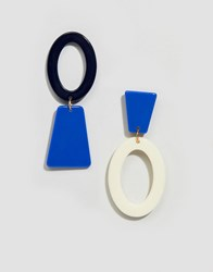 Glamorous Blue Abstract Mis Matched Earrings Multi