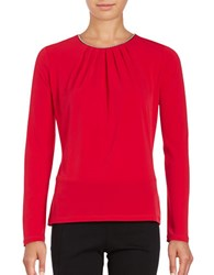 Karl Lagerfeld Embellished Knit Top Red