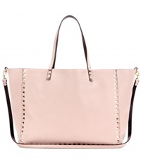 Valentino Rockstud Reversible Leather Shopper Beige