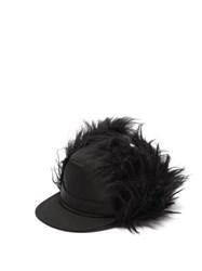 Prada Nylon And Mohair Baseball Cap Black