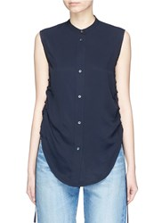 Helmut Lang Ruched Stripe Dobby Sleeveless Top Blue