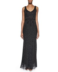 Theia Sleeveless Beaded Deco Gown Black Ruby