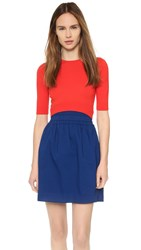 Carven Colorblock Sweater Dress Red