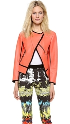 Cedric Charlier Faux Leather Jacket Neon