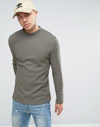 Asos Longline Muscle Long Sleeve T Shirt With Turtle Neck In Waffle In Khaki Toad Green