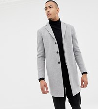 Selected Homme Recycled Wool Overcoat In Grey