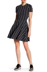 Opening Ceremony Striped Fit And Flare Mini Dress Black
