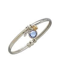 Lord And Taylor 14K Yellow Gold Sterling Silver Blue Topaz Charm Bracelet Blue Topaz Silver