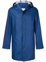 Mackintosh Dark Indigo Storm System Linen Short Hooded Coat Gm Blue