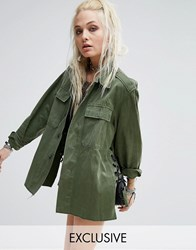 Milk It Vintage Military Jacket With Ribbon Lace Up Sides Khaki Green