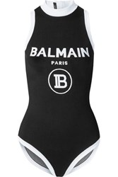 Balmain Intarsia Stretch Knit Bodysuit Black