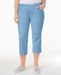 Style And Co Plus Size Tummy Control Capri Jeans Blue Fog