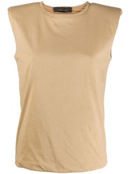 Federica Tosi Padded Shoulder Round Neck Top 60