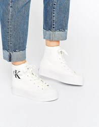 Calvin Klein Jeans Zabrina White Canvas Hi Top Trainers Wht